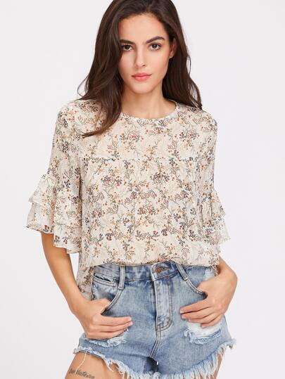 Blossom Print Layered Ruffle Sleeve Top