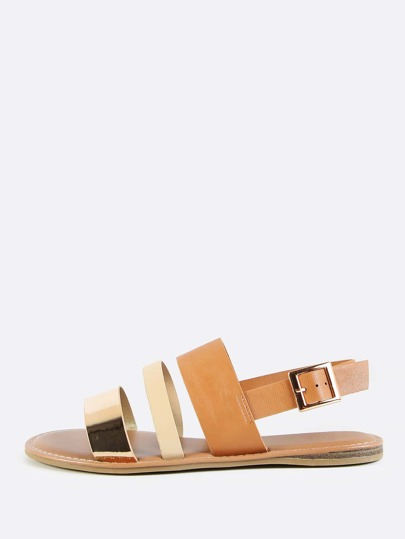 Open Toe Triple Band Flat Sandals GOLD MULTI
