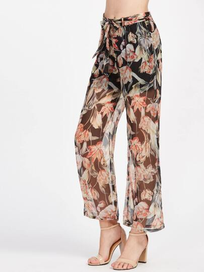 Floral Print Sheer Mesh Overlay Wide Leg Pants With Belt