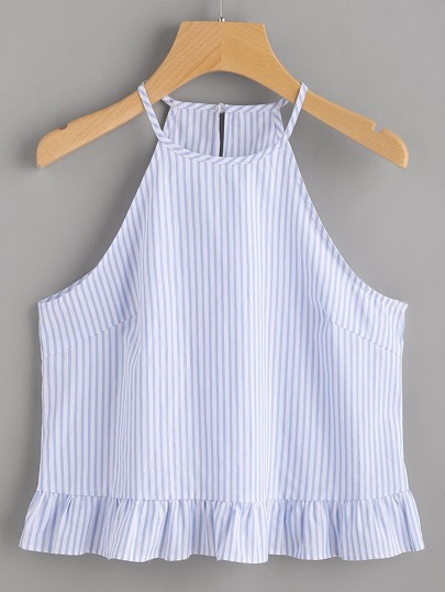 Buttoned Keyhole Back Frill Striped Halter Top