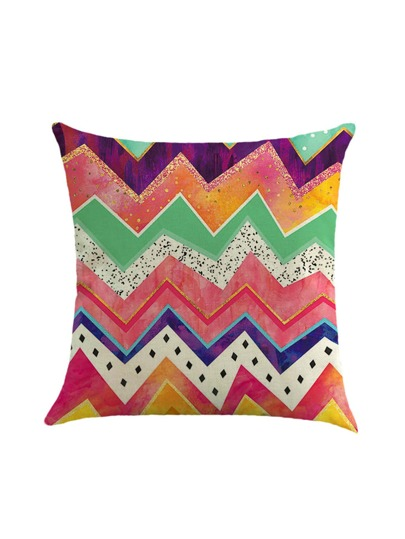 Funda de almohada con estampado chevron en color block