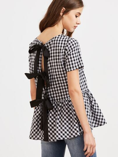 Checked Bow Split Back Peplum Top