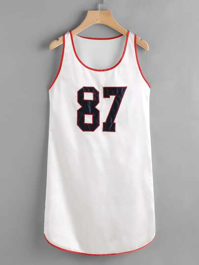 Embroidered Contrast Binding Basketball Tank Dress