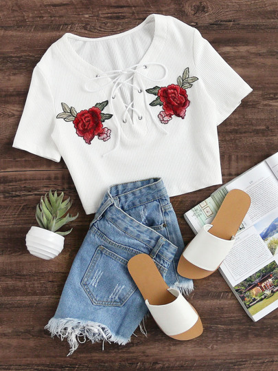 Eyelet Lace Up Patch Detail Rib Knit Crop Tee