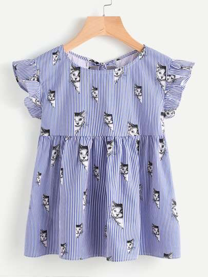 Cat Print Split Tie Back Striped Babydoll Top