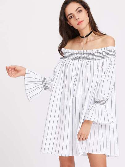 Shirred Neck And Bell Cuff Striped Trapeze Dress