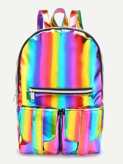 Iridescent Front Zipper And Pocket Backpack