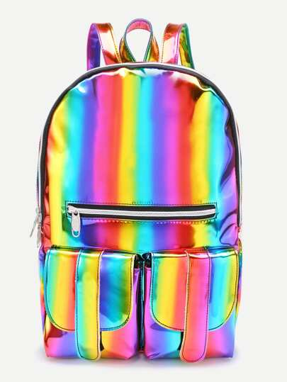 Zaino iridescente con tasca e cerniera sul davanti