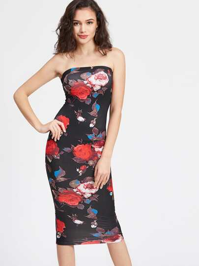Rose Print Bandeau Bodycon Dress