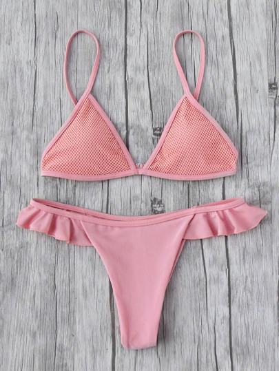 Flounce Detail Triangle Bikini Set