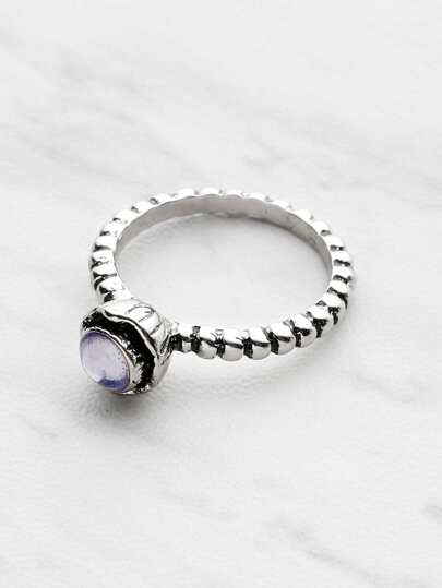 Gemstone Detail Textured Ring