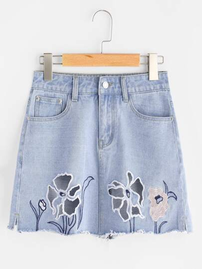 Faded Wash Cutout Embroidered Raw Hem Denim Skirt
