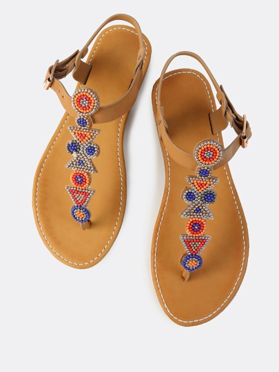 Bead Embellished Thong Sandals TAN