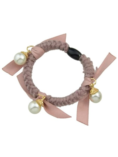 Pink Color Pearl Elastic Hair Rope Scrunchie