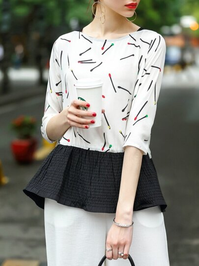 Matches Print Pleated Combo Blouse