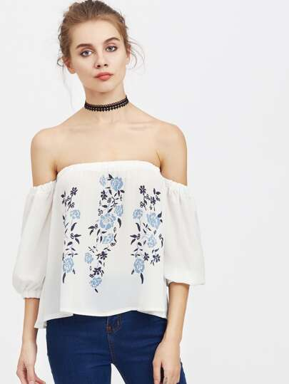 Bardot Floral Print Top
