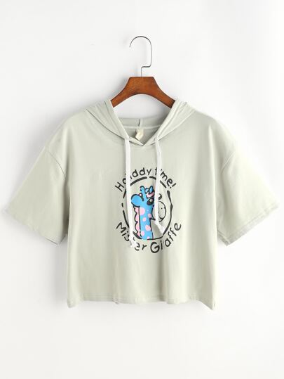 Camiseta con capucha con estampado de jirafa