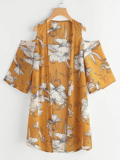 Kimono con hombros abiertos y estampado de flor
