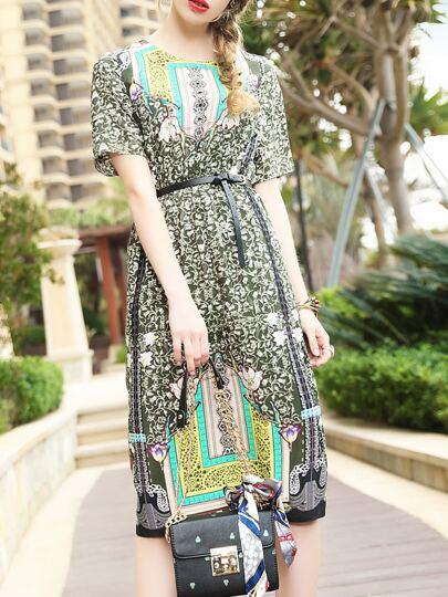 Vestido de cintura elástica con estampado floral con abertura
