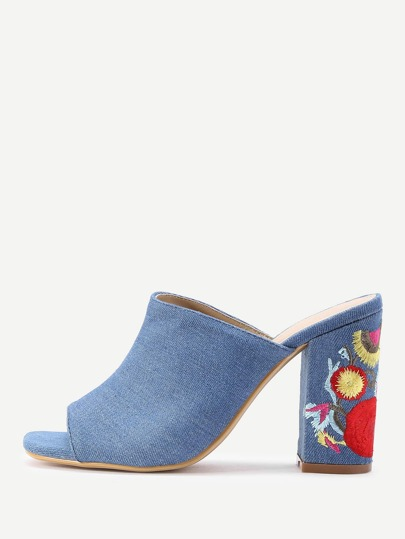 Peep Toe Flower Heeled Mules