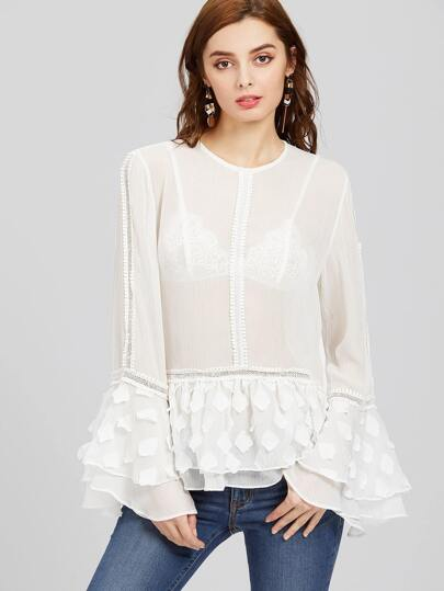 Lace And Petal Applique Fluted Sleeve Sheer Layered Top