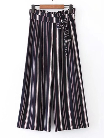 Vertical Striped Wide Leg Pants With Self Tie