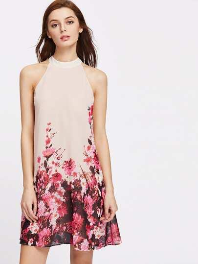 Robe en tissu imprimé avec l'ouverture de fleurs Halter