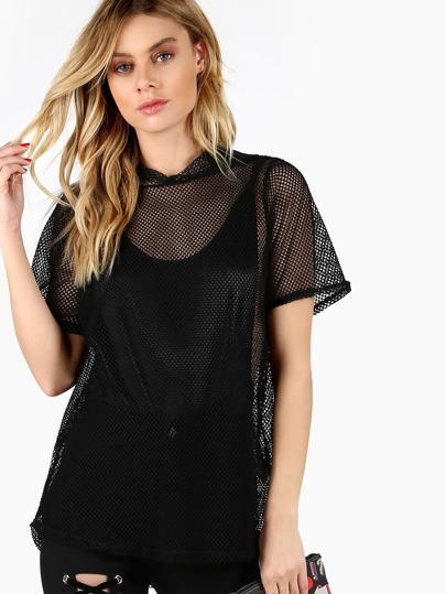 Short Sleeve Fishnet Hoodie Top BLACK