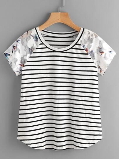 T-shirt con maniche raglan a rete, con stampa dell'uccello