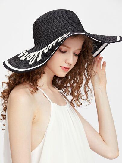 Lettera benda nera cappello di paglia a tesa larga