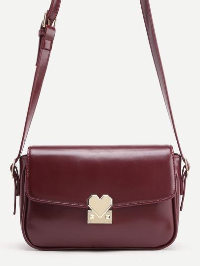 Heart Shaped Lock Flap PU Shoulder Bag