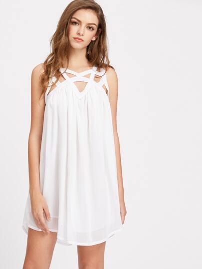 Cut Out Neckline Chiffon Dress