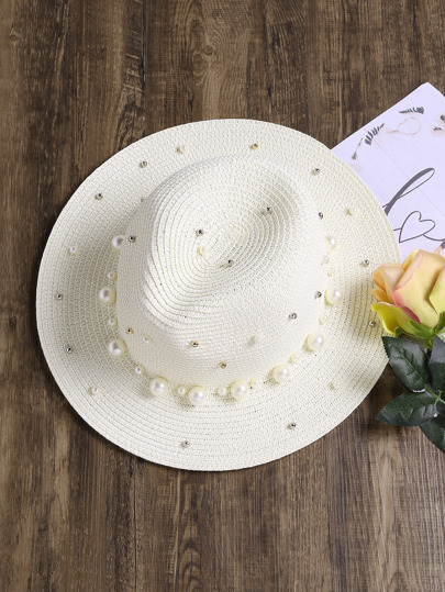 Faux Pearl Straw Fedora Hat