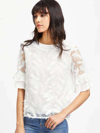 3D Feather Embroidery Lace Beading Detail Top