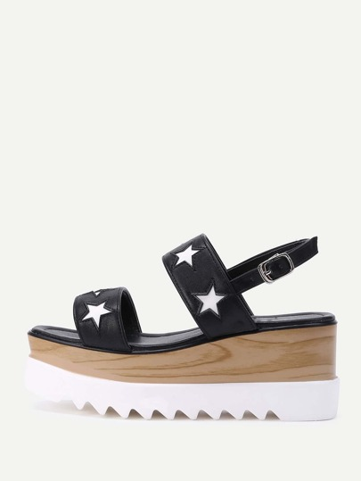 Star Design PU Wedge Sandals