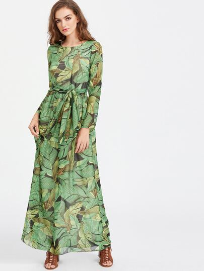 Palm Leaf Print Self Tie Maxi Chiffon Dress
