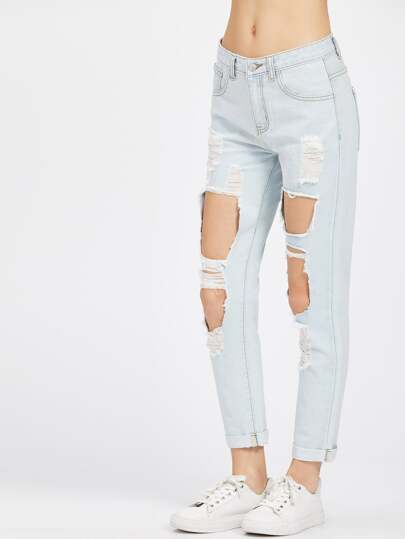 Light Wash Cuffed Hem Cutout Boyfriend Jeans