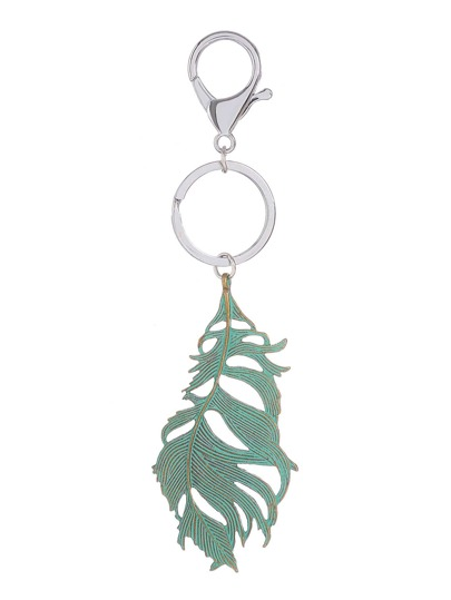 Contrast Leaf Shaped Keychain
