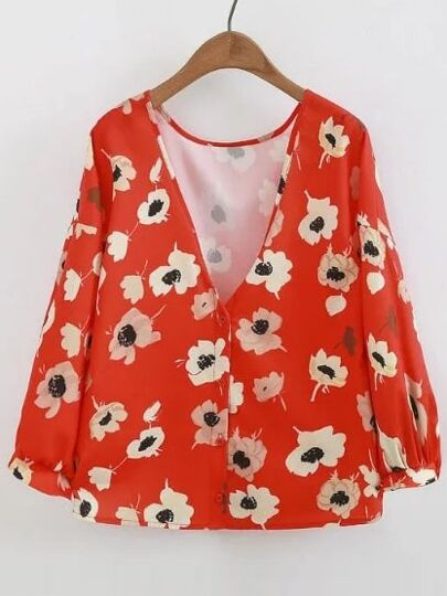 V Neckline Flower Print Single Breasted Blouse