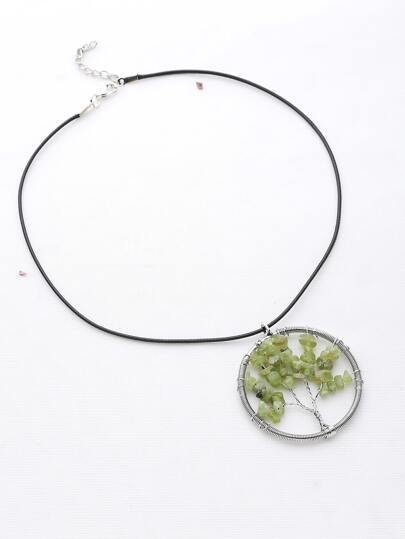 Stone Life Tree Pendant Necklace