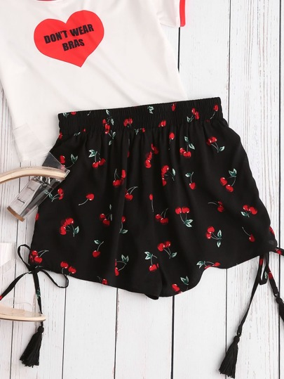 Shirred Waist Tasseled Drawstring Side Cherry Shorts