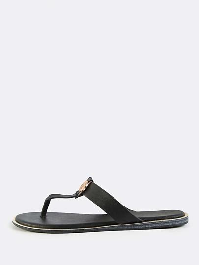 Coin Thong Flat Slip Ons BLACK