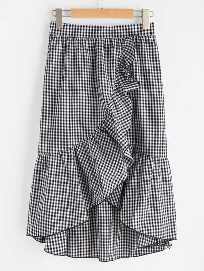 Band Waist Asymmetric Ruffle Trim Gingham Skirt