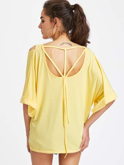 Open Shoulder Strappy Back Batwing Sleeve Stepped Hem Tee