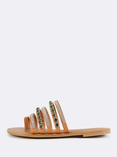 Bejeweled Slip On Sandals TAN