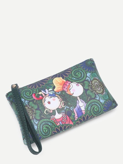 Cartoon Print Wristlet Clutch