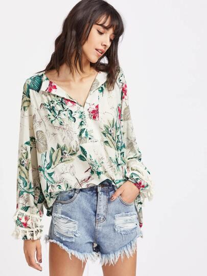 Tropical Print Fringe Trim Dip Hem Blouse