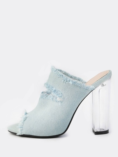Frayed Denim Clear Heeled Mules BLUE