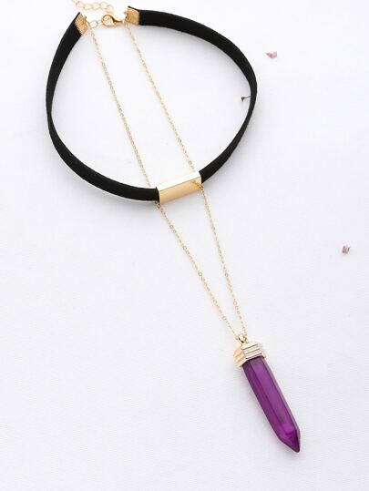 Metal Detail Choker With Contrast Pendant Necklace