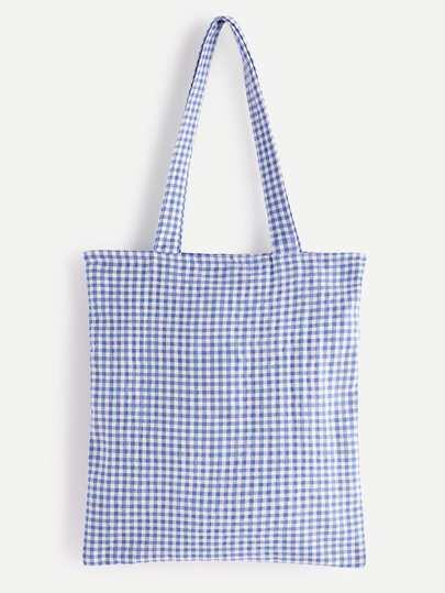 Bolso de mano de lino con estampado de guingán